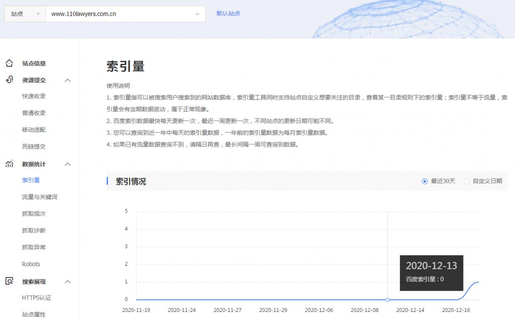 新站百度收录索引数据曲线
